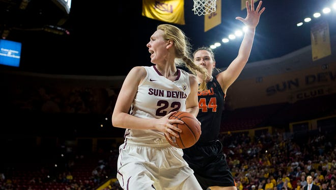 ASU sophomore center Quinn Dornstauder (left) and Oregon State junior center  Ruth Hamblin fight for the ball during an ASU home game against Oregon State at Wells Fargo Arena  on Jan. 25, 2015, in Tempe.