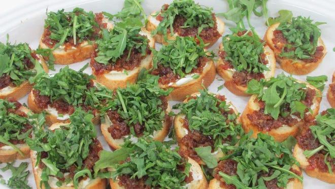 Bacon Jam, Arugula & Goat Cheese Crostini