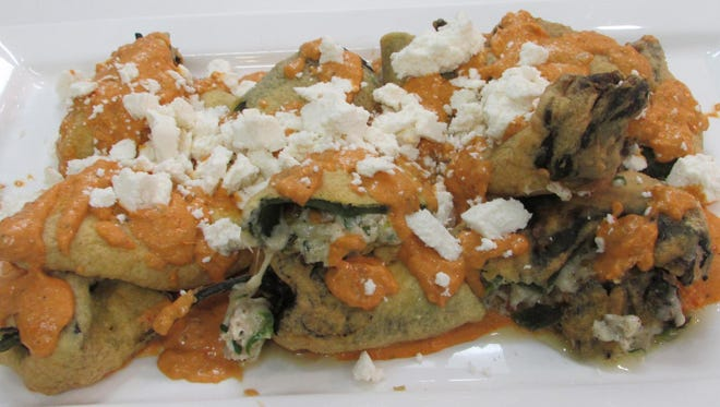 Chili Rellenos Stuffed With Roasted Chicken & Goat Cheese.