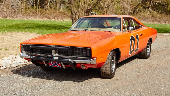 A handout photo provided by Julien's Auction shows the 1969 Dodge Charger built and previously owed by John Schneider that was used in the television program 'The Dukes of Hazzard' will be auctioned as part of the  Hollywood Legend auction at Julien's Auction in Beverly Hills, Calif., in June 2015.