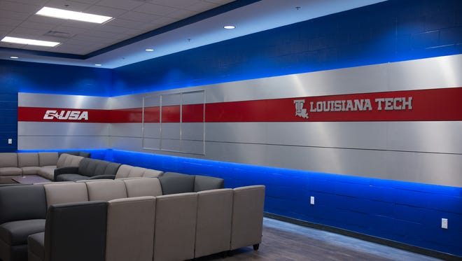Pictured is the team lounge of Louisiana Tech's new $22 million facility.