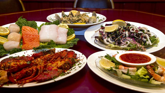 A selection of seafood dishes served at Tuzzio's in Long Branch.