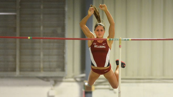 Oklahoma freshman and Port Huron Northern alum Mackenzie Shell clears the bar at the J.D. Martin Invitational.