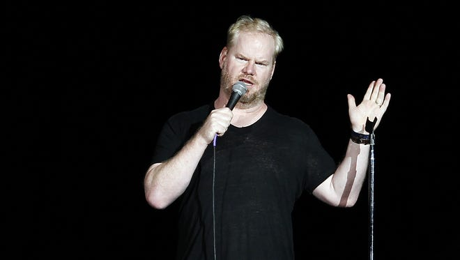 Jim Gaffigan performs in the Coliseum at the Indiana State Fair in Indianapolis on Sunday, Aug. 17, 2014.