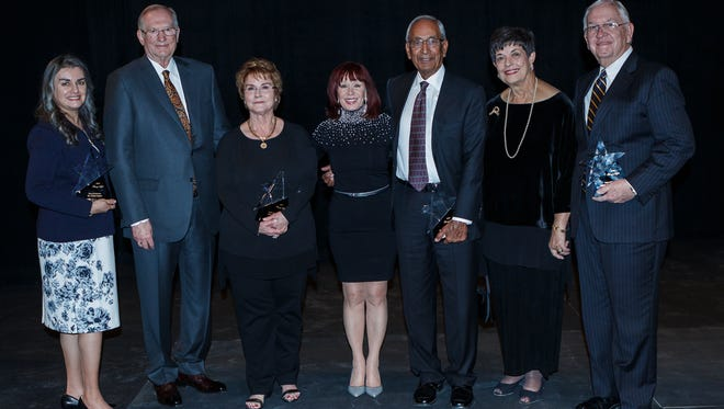 """Patty Lopez, left, Larry and Diane Allen, Jag Cheema, and Sally and Glenn Cutter were honored during the 2016 """"A Starry Night"""" event, Feb. 13, hosted by the NMSU College of Arts and Sciences. Dean Christa Slaton are pictured with the group."""