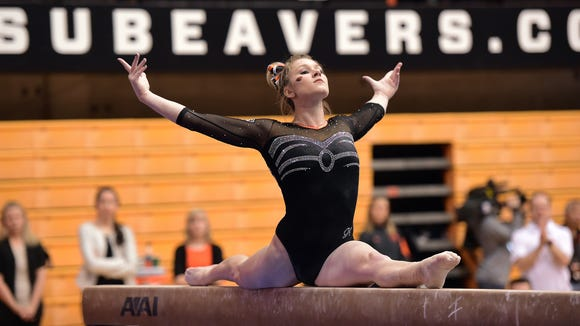 Oregon State gymnast Madeline Gardiner is a three-time All-American.
