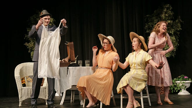 "Students perform a scene from ""What's in a Name?"" Pictured from left are Matthew Stern, Noelle Korzeniewski, Allison Macknick and Savannah White."