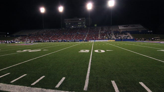 In this 2009 file photo, the west side of Joe Aillet Stadium is shown, including the press box and Sky Box. Louisiana Tech plans to tear it down and replace both by 2018.