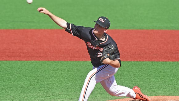 Oregon State pitcher Bryce Fehmel led the Pac-12 with