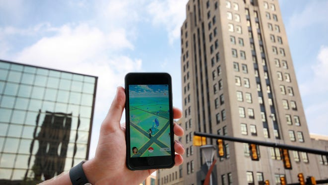 Pokemon Go in downtown Battle Creek.