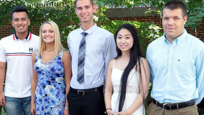 Five high school students received college scholarships from the Burlington County Volunteer Center. They are (from left)  Miguel Gonzales of Pemberton Township High School, Taylor  Kane of Lenape High School, Eric Biehn of Shawnee High School, Kelly Li of Moorestown High School, and Ryan Hoffman of Delran HIgh School.