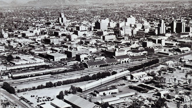 The skyline of downtown Phoenix in a 1940 photo looking northeast.