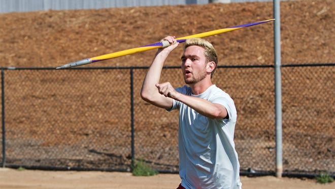 Cody Jones, a student at California Lutheran University and Paralympic athlete, practices throwing the javelin last week in Thousand Oaks just hours before leaving for Rio de Janeiro to compete in the 2016 Summer Paralympic Games.