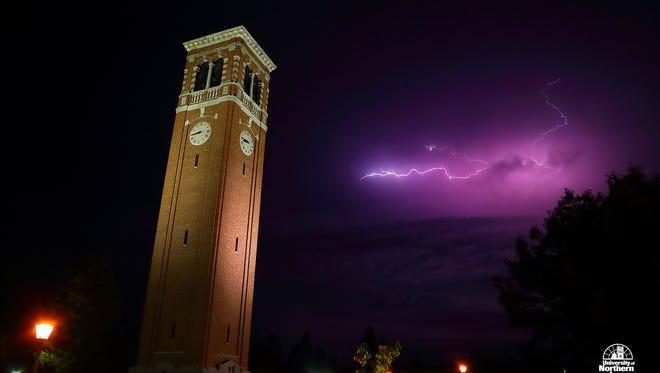 Purple lightning at the University of Northern Iowa.