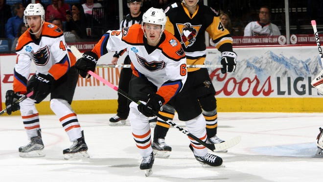 Travis Sanheim, center, is one of the first-year pros that are helping the Phantoms take the next step.
