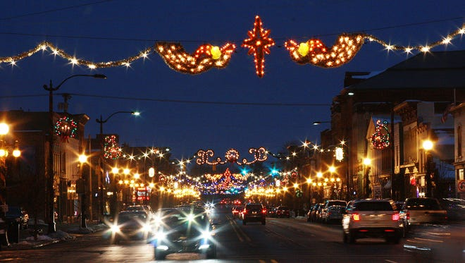 Downtown Marshall lit up on Friday evening.
