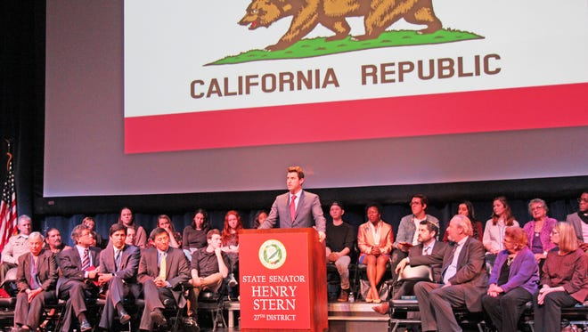 State Sen. Henry Stern, a Democrat who represents the 27th District, speaks after a swearing-in ceremony in Agoura Hills.