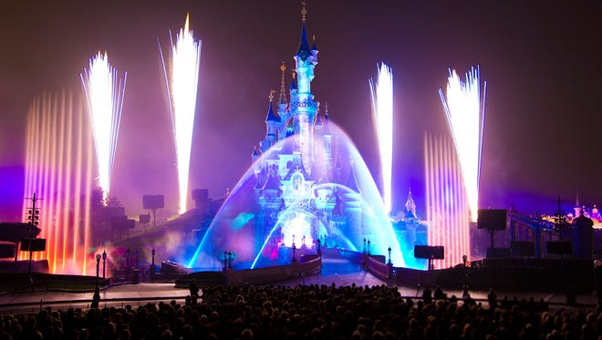 Disneyland Paris at night.