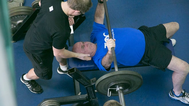 Jim Sauls, 70, competes in powerlifting at the 2016 Capital City Senior Games. After winning locally, Sauls, former football coach for Leon High School, went on to the Florida Senior Games State Championships and won four gold medals.