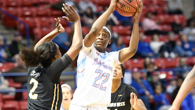 Louisiana Tech forward Jasmine LeBlanc is averaging 12 points and a team-high 9 rebounds for the Techsters this year.