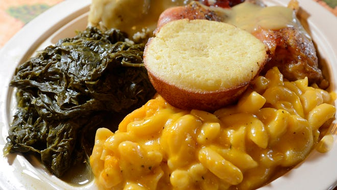 Peggy's Healthy Home Cooking features favorites like Mac and Cheese, baked chicken, stuffing with gravy, greens and cornbread.