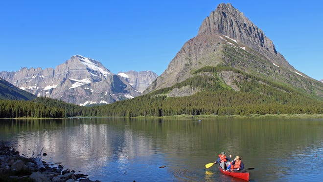 It is not unusual for Glacier National Park canoe paddlers to get much or all of a lake to themselves.