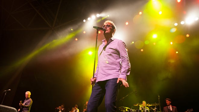 Huey Lewis and the News performs at Summerfest's BMO Harris Pavilion in 2017. Lewis announced Friday he's canceling his 2018 tour, including a show at the Wisconsin State Fair, to address a sudden bout of hearing loss.