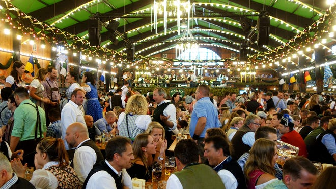 Oktoberfest's tents are packed, and together can seat over 100,000 partiers at a time.