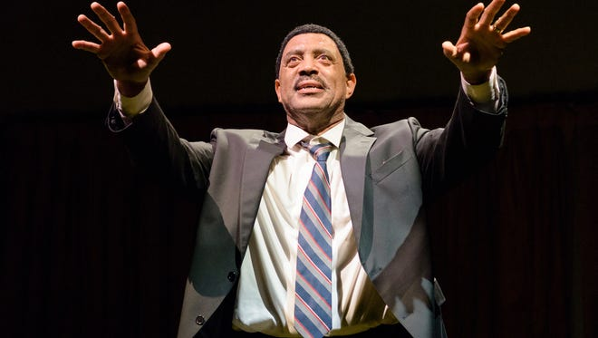 """Hassan El-Amin plays Martin Luther King Jr. in tje UD Resident Ensemble Players production of """"the Mountaintop."""""""