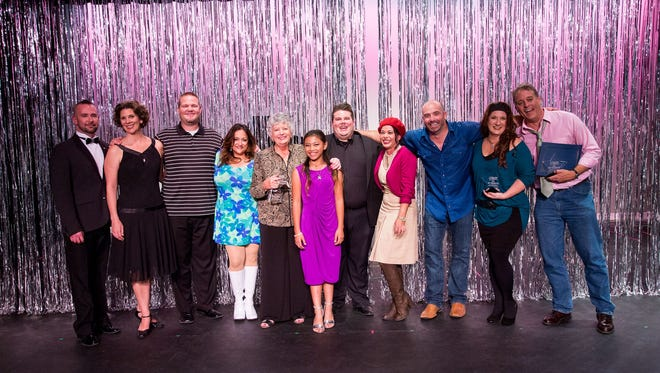 2017 cast of Singing with the Stars: Terry Barber, Lynn Kreps, Jimmy Paul, Preethi Sekharan, Overall and Fundraising Winner Christine Jung, Alexis Bentinganan, Shane Thomas, Heather Morris, Mike Terrio, Eileen Walentin, and Best Performance winner Gil Smart.