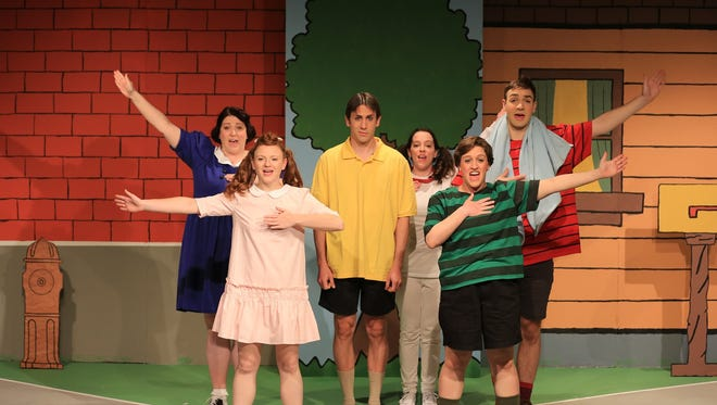 "The cast of Chapel Street Players' ""You're A Good Man, Charlie Brown:"" front, Katie Brady and Gabrielle Rambo; back, Rebecca Gallatin,Jason Tokarski, Caitlin Custer and William Bryant."
