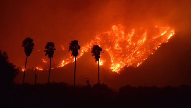 A fast-moving fire that began Monday, Dec. 4, 2017, is affecting an area between Santa Paula, Calif., and Ojai, Calif.