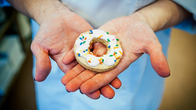 These doughnut cookies are the creation of Katherine Hood. Her business is Kookies by Katie.