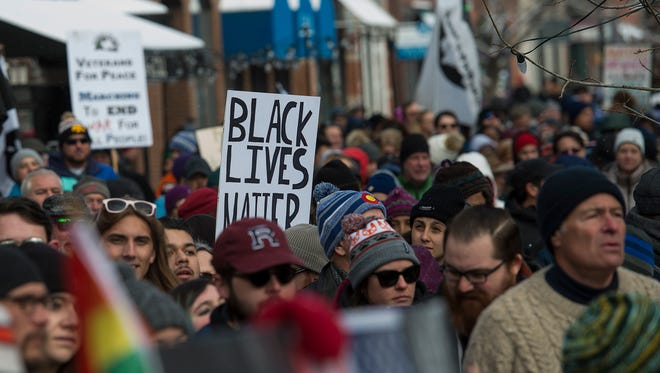 A crowd waits for the start of the march on Monday, Jan. 15, 2017, during a Dr. MLK Jr. march and celebration in Old Town Square in Fort Collins, Colo.