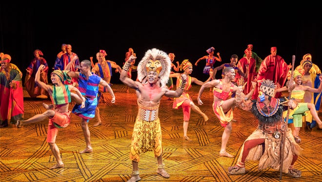 "Gerald Caesar as ""Simba"" and company in THE LION KING North American Tour. ©Disney. Photo by Deen van Meer."