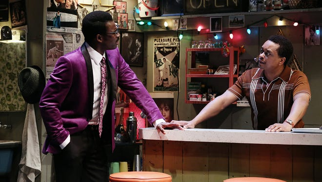 """A scene from Ensemble Theatre Cincinnati's 2015 production of """"Detroit '67,"""" the first part of playwright Dominique Morisseau's """"The Detroit Projects"""" trilogy. During the 2018-2019 season, ETC will present the final work of that trilogy, """"Skeleton Crew."""" Seen here are Darnell Pierre Benjamin (left) and Bryant Bentley."""