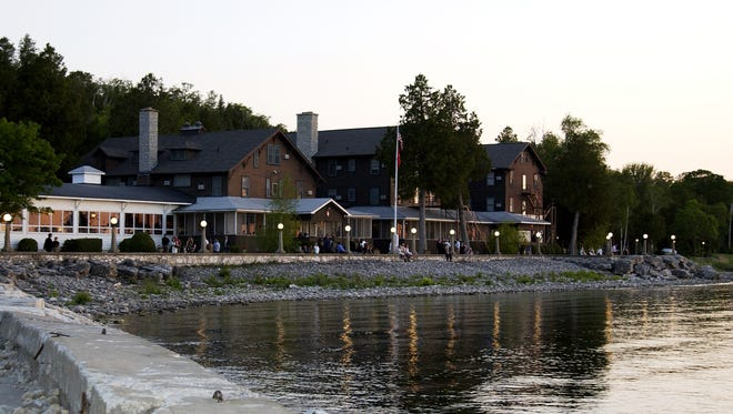 Waterfront view of the lodge at Alpine Resort, Egg Harbor.