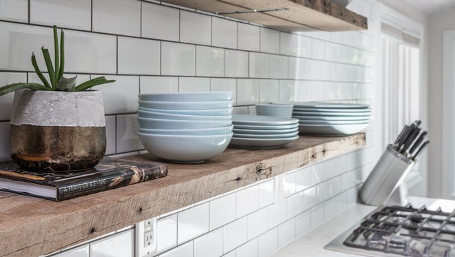 Subway tile creates a clean backsplash in the home.