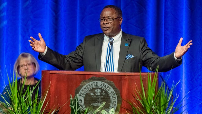 """MTSU President Sidney McPhee delivers his """"State of the University"""" speech to a packed Tucker Theatre."""