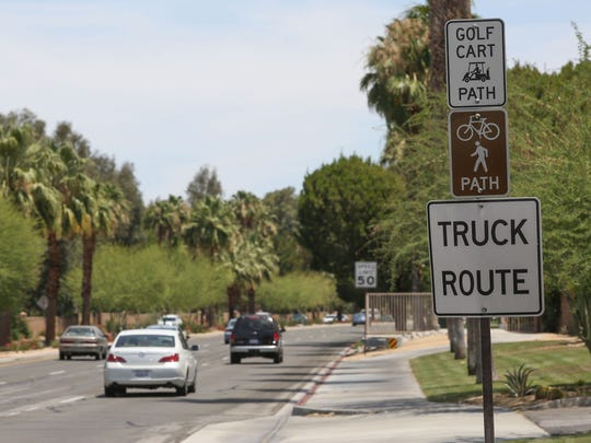An existing bike path, golf cart path and sidewalk runs along Hwy 111 near Country Club Drive in Rancho Mirage.