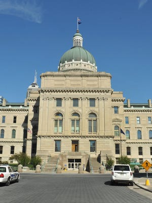 West side of the Indiana Statehouse.