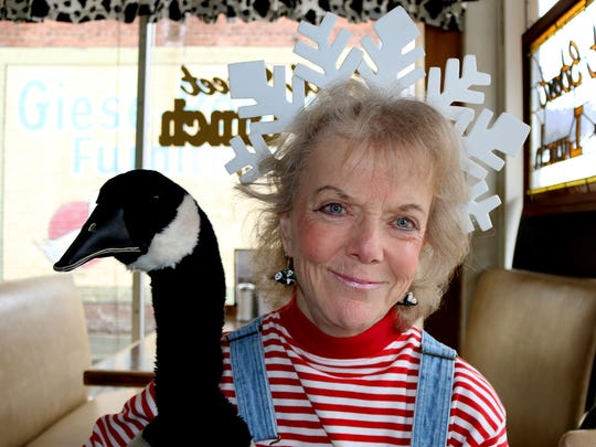 The children's entertainer Snowflake, also know as Eartha Ever Green, along with her Canada Goose puppet, Honk, will enlighten the public about the holiday tree lighting at the Oregon State Capitol, set for Dec. 1 at 5 p.m.