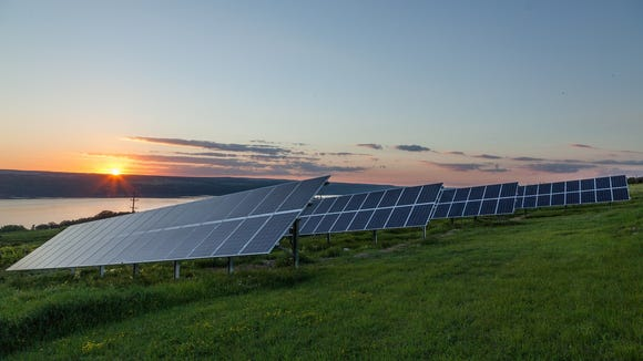 A community solar installation in Tompkins County installed by Renovus Solar. Villages across New York are now debating whether to institute moratoriums on commercial solar farms.
