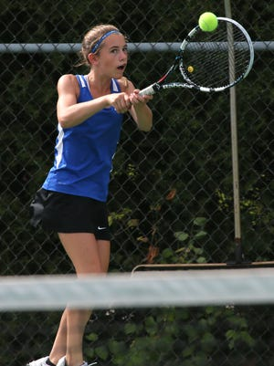 Kimmy Sterinert of Oshkosh West returns the ball playing tennis in the Oshkosh North invitational at Oshkosh West High School Wednesday.