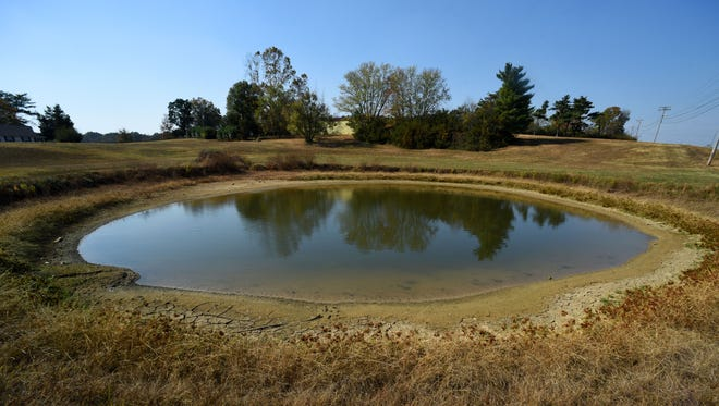This farm pond is located off Watt Road at Harrison Road in West Knox County on Tuesday, Nov. 1, 2016. East Tennesseans were dealing with drought conditions last year.