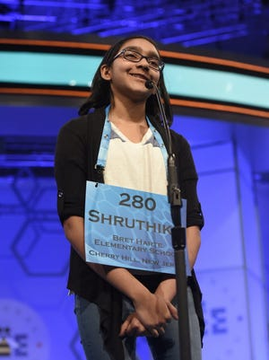 """Shruthika Padhy, 10, of Cherry Hill, N.J., incorrectly spells """"tyee"""" in the finals of the 2016 Scripps National Spelling Bee at the Gaylord National Resort and Convention Center in National Harbor, Md.."""