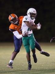 Vicksburg's Malik Shelley is tackled by Callaway's James Williams during the Vicksburg vs Callaway football game at Newell Field in Jackson,MS  on October 26, 2017