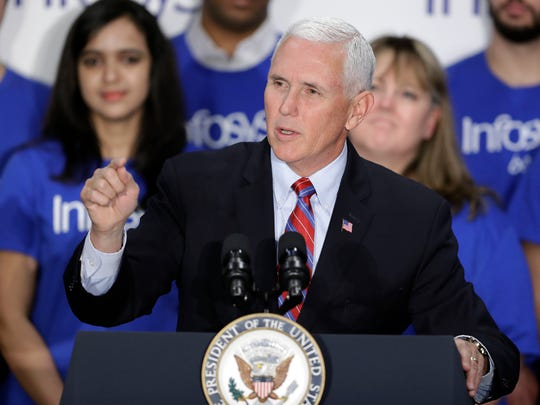 Vice President Mike Pence speaks during a Infosys economic development announcement Thursday in Indianapolis.