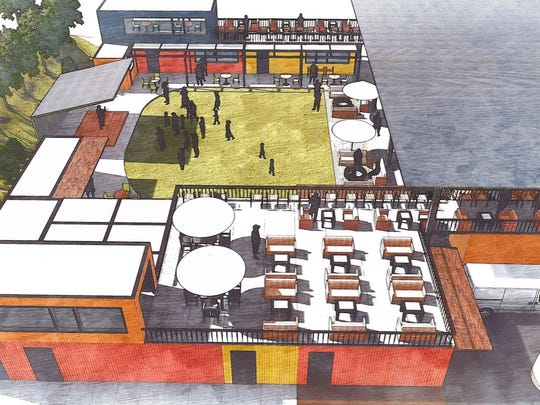 An overhead look at Gather GVL on Augusta Street.