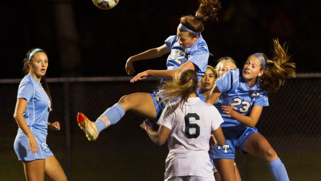 Freehold Township's Nicole Sasso gets her foot on ball during first half action. Colts Neck Girls Soccer vs Freehold Township in SCT Final on October 31, 2015 in Neptune, NJ.